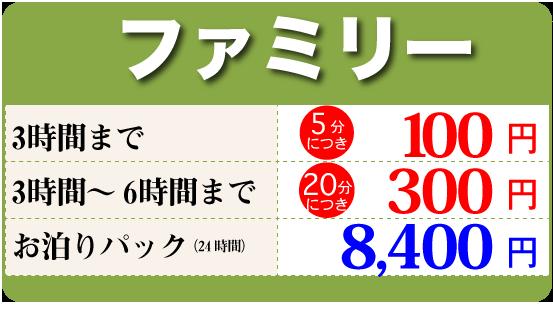 ファミリーサイズレンタカー料金表